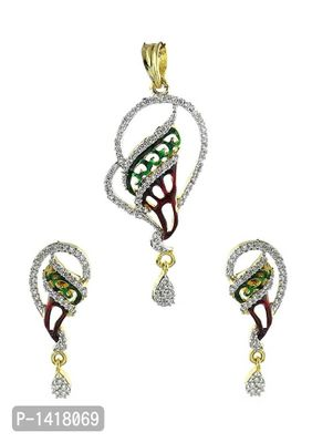 American Diamond Gold Plated Peacock Pendant Set With Chain