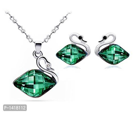Floral Shaped Crystal Pendant Set With Earrings