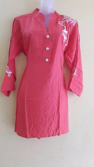 Rayon Kurta with embroidery on neck and sleeves