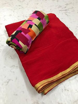 Red Saree with Multicoloured Blouse piece