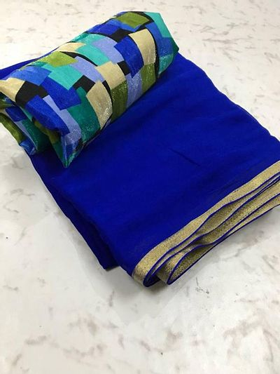 Navy Blue Saree with Multicoloured Blouse piece