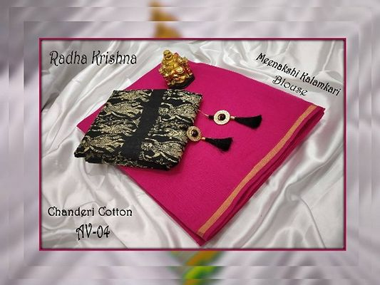 Radha Rani Kalamkari Blouse With Chanderi Cotton Saree