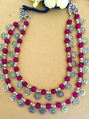 Multilayered beaded coin necklace