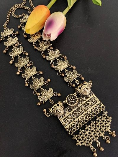 Amarpali temple jewellery long necklace with pendant