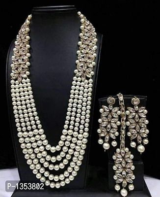 Beautiful pearl necklace combo with necklaces earrings and mang tikka