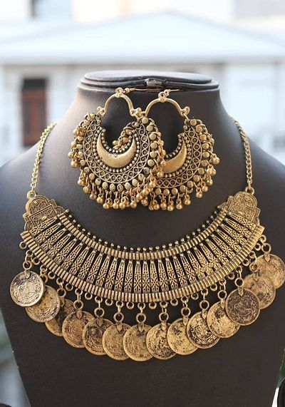 Afghani necklace and earrings jewellery set combo