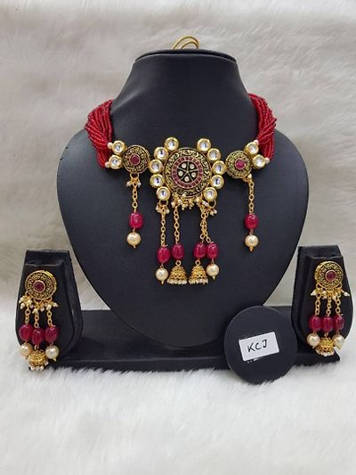 Antique kundan set with red beads