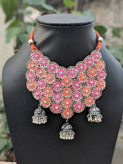 Patched work tribal necklaces boho style
