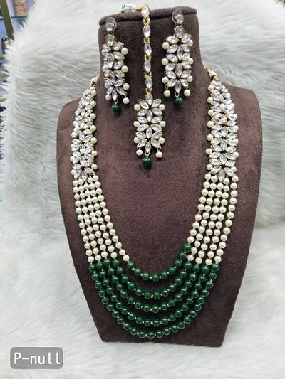 Pearl set with mang tika and earrings