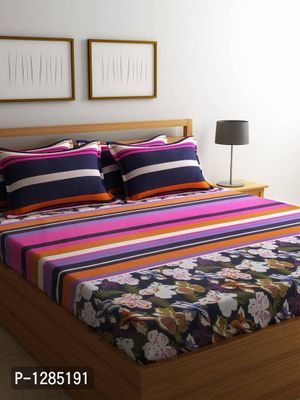 Fine Quality Multi Color Cotton 144 TC Double Bed Sheet with 4 Pillow Covers