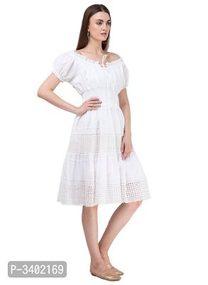 Women's Cotton Off White Solid Dress
