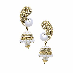 White Peacock Earring with Pearl Drop