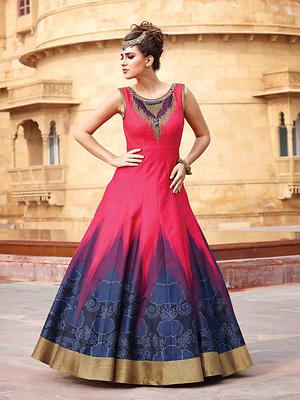 Bhagalpuri Silk Fabric Readymade Lace,Printed Gown Party Wear