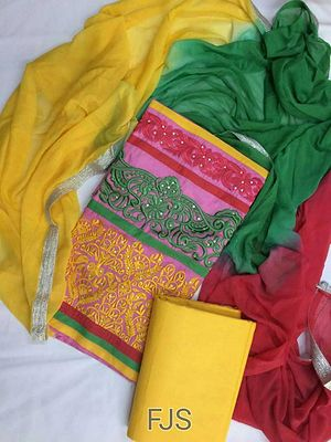 cotton embroidered suit