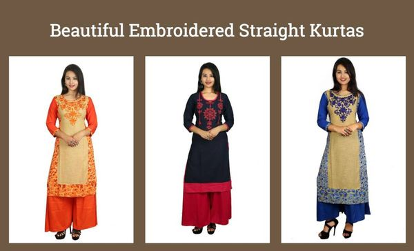 Beautiful Embroidered Straight Kurtas