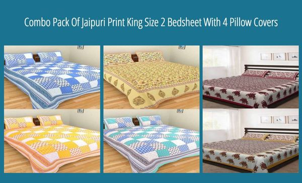 Combo Pack Of Jaipuri Print King Size 2 Bedsheet With 4 Pillow Covers