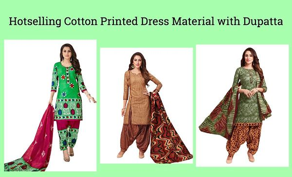 Hotselling Cotton Printed Dress Material with Dupatta