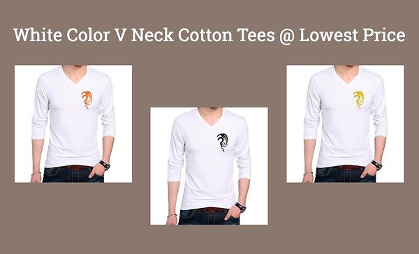 white-color-v-neck-cotton-tees-lowest-price