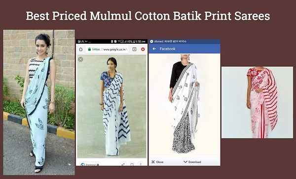 Best Priced Mulmul Cotton Batik Print Sarees
