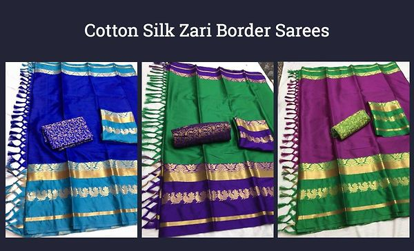 Cotton Silk Zari Border Sarees