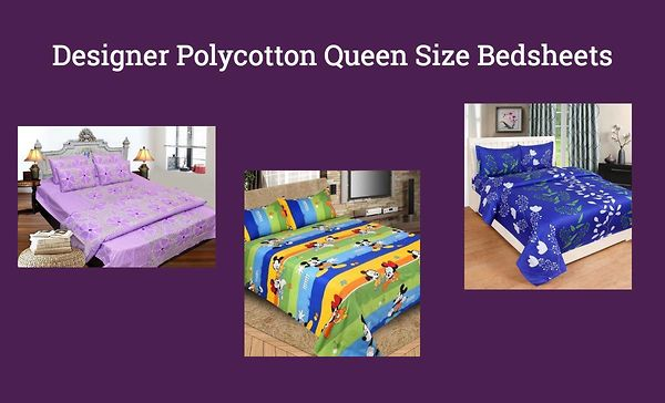 Designer Polycotton Queen Size Bedsheets