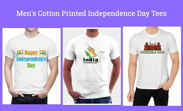 Men's Cotton Printed Independence Day Tees