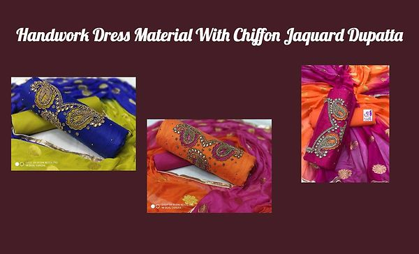 Handwork Dress Material With Chiffon Jaquard Dupatta