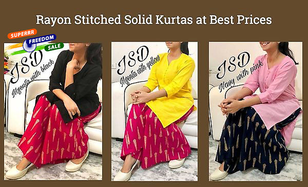 rayon-stitched-solid-kurtas-at-best-prices