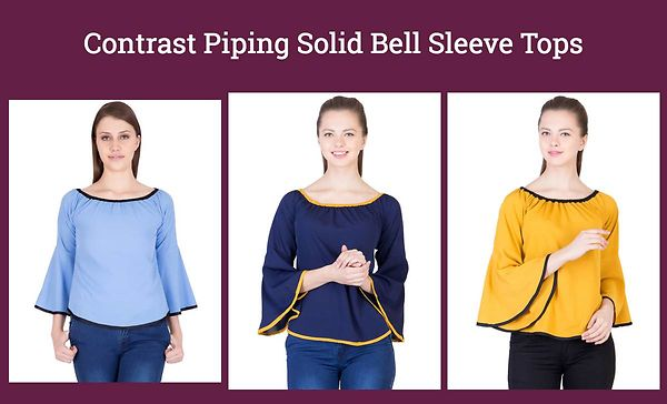 Contrast Piping Solid Bell Sleeve Tops