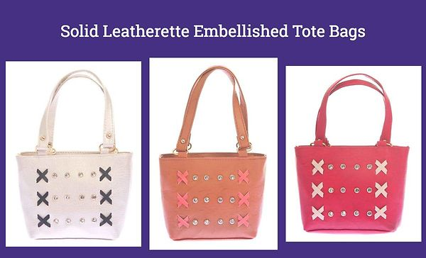 solid-leatherette-embellished-tote-bags