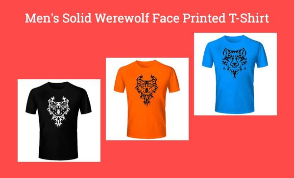 men-s-solid-werewolf-face-printed-t-shirt