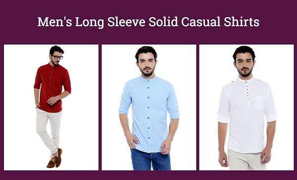 Men's Long Sleeve Solid Casual Shirts