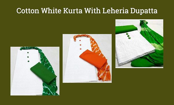 cotton-white-kurta-with-leheria-dupatta