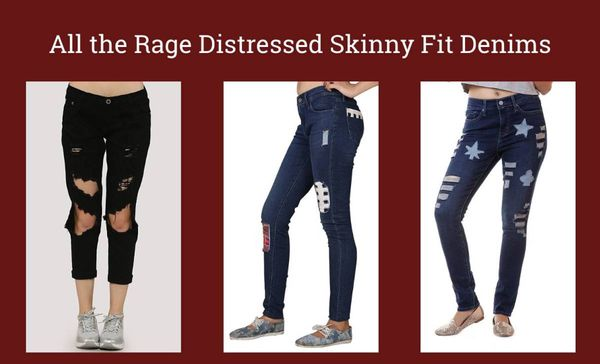 All the Rage Distressed Skinny Fit Denims