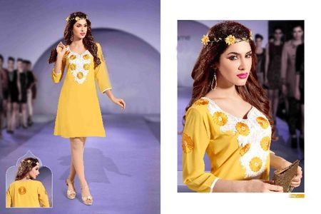 Yellow Faux Georgette Kurti