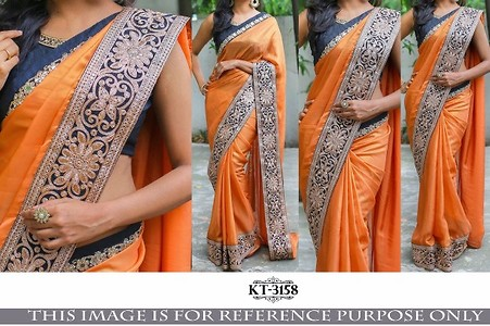 Orange saree with blue design border