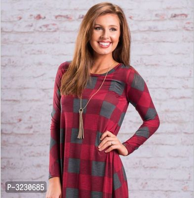 Fashionable Red Cotton Checked Long Sleeve Dress