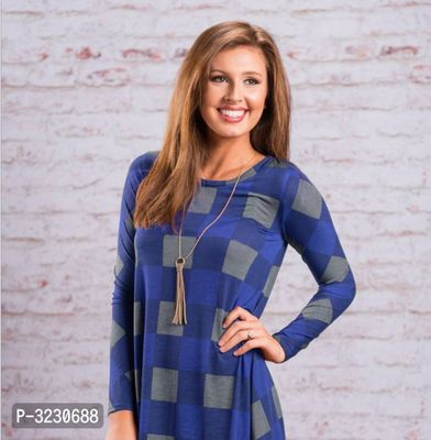 Trendy Blue Cotton Checked Long Sleeve Dress