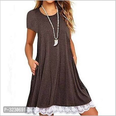 Classy Coffee Cotton Solid A-Line Dress