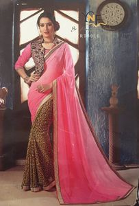 Georget half and half saree