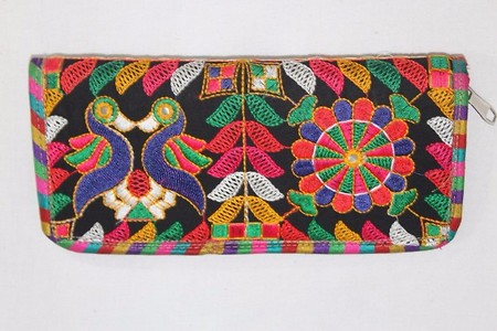 Multicolored embroidered clutch from Kutch