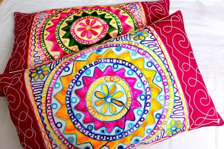 Pillow cover with embroidery