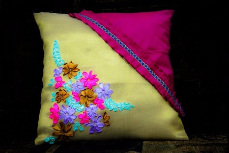Cushion cover with ribbon embroidery