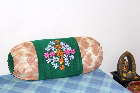 Bolster cover with ribbon embroidery