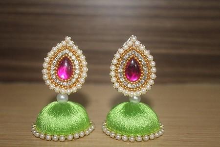 Green and pink silk thread jhumka