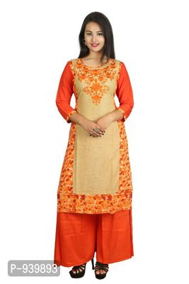 Orange Embroidered Stitched Kurta