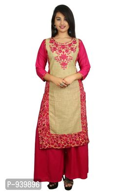 Pink Embroidered Stitched Kurta