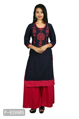 Blue Embroidered Stitched Kurta