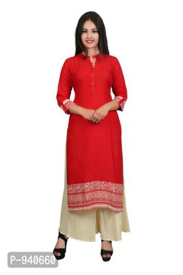 Red Solid Stitched Kurta with palazzo