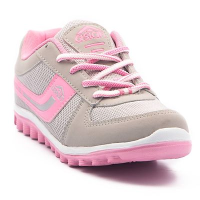 Cute Grey Pink Running Shoes For Women